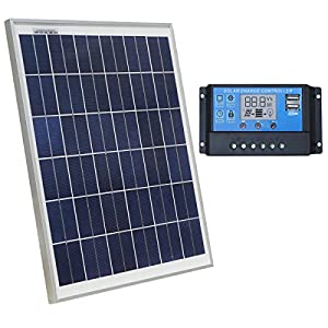 ECO-WORTHY 12 Volt 20W Solar Charging Kit: 1pc 20 Watt Polycrystalline Photovoltaic Solar Panel + 20 Amp 12V/24V PWM Solar Charge Controller