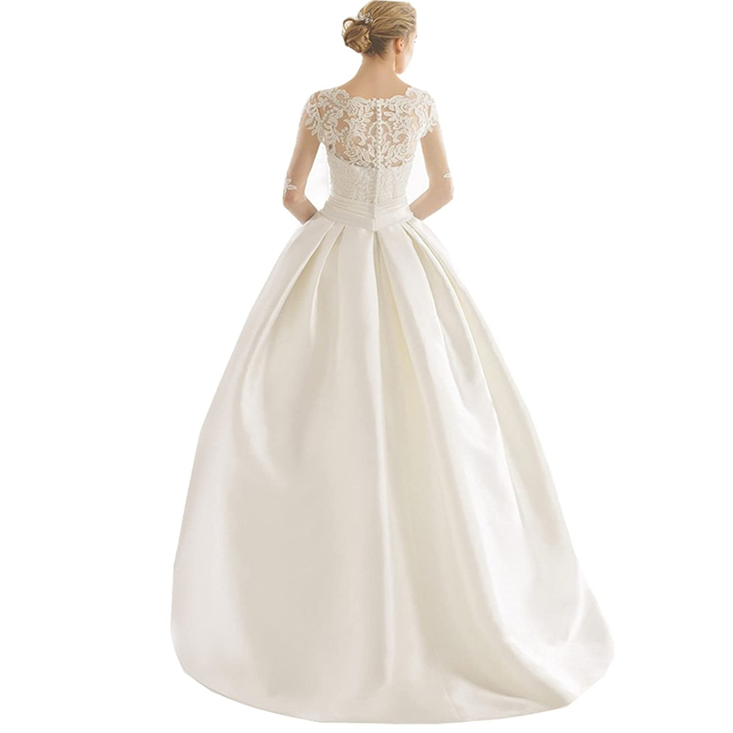 Yuxin Lace Applique Long Sleeves Ball Gown Wedding Dress Satin ...