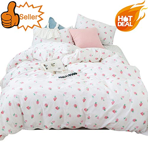 (OTOB Cartoon Strawberry Print Kids Bedding Duvet Cover Sets Queen Cotton 100 Percent Bed for Girls Toddler Teen Women Colorful Reversible Teen Bedding Sets Full Size Pink Queen/Full)