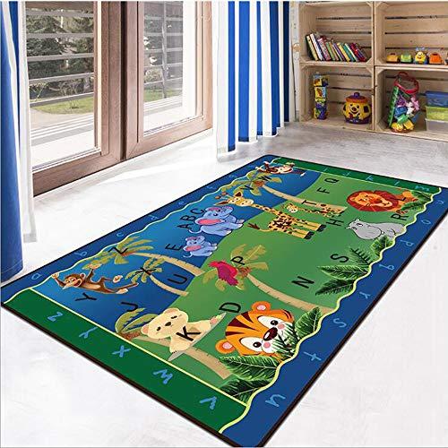 RuiHome Children Activity Gym Game Play Mat Elephant Monkey Lion Animal Pattern Nursery Rug Living Room Bedroom Decor Anti-Skid Exercise Yoga Carpet, ()