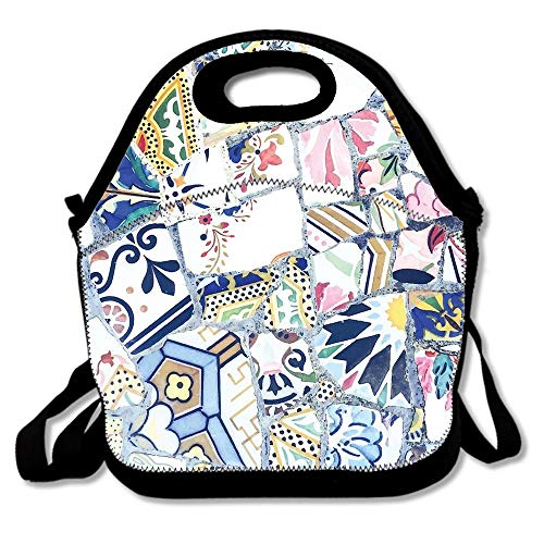 (Gaudi Park Guell Mosaic Neoprene Lunch Bag For Women Adults Kids,Reusable Lunch Box Lunch Tote Picnic Insulated Travel Bag)