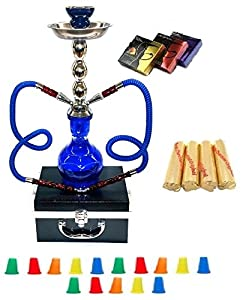 "Zebra Smoke Series: 18"" 2 Hose Hookah Combo Kit Set w/ Instant Charcoal, Hydro Herbal Molasses(like Blue Mist), and Hookah Mouth Tips Smoke More Then Hookah Pen WITH CASE(Blue)"