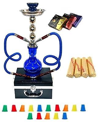 "Zebra Smoke Series: 18"" 2 Hose Hookah Combo Kit Set w/ Instant Charcoal, Hydro Herbal Molasses(like Blue Mist), and Hookah Mouth Tips Smoke More Then Hookah Pen WITH CASE(Blue)"
