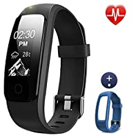 Lintelek Fitness Tracker, 107Plus Heart Rate Monitor Activity Tracker, Stopwatch, Relax,14 Sports Modes,IP67 Waterproof Pedometer Wristband for Kids, Women, Men