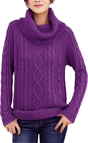 v28 Women's Korean Design Turtle Cowl Neck Ribbed Cable Knit Long Sweater Jumper (L, Purple)