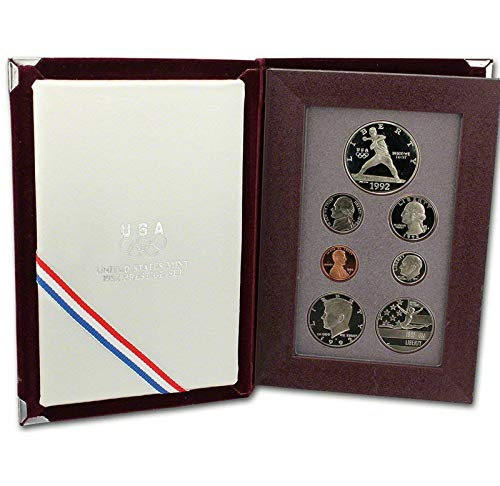 1992 S US Mint 7-piece Prestige Proof Set with Olympic Silver $1 and Commemorative 1/2 PR OGP