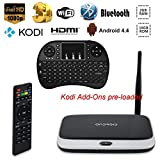 Topsion Smart Internet TV Box CS918 Android 4.4 Quad Core 2GB/8GB Google Streaming Media Player Full HDMI Support 1080P Kodi Xbmc Fully Loaded with Wireless keyboard and Remote Controller