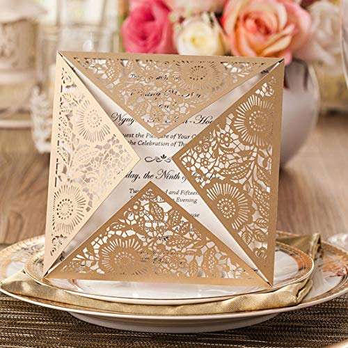 JOFANZA Square Laser Cut Wedding Invitations Cards 50 Count Gold Lace Flower Pattern Invites Card for Qinceanera Engagement Birthday Bridal Shower Baby Shower Graduation Party (Set of 50pcs)