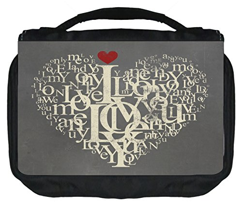 Typographical Love Heart - Travel Toiletry Bag with Hanger - Love/ Valentine's Day Gift - by Jacks Outlet TM
