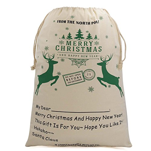 Bonison Christmas Bag Santa Sack Canvas Bag For Gifts Santa