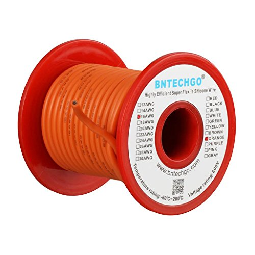 BNTECHGO 16 Gauge Silicone Wire Spool Orange 25 feet Ultra Flexible High Temp 200 deg C 600V 16 AWG Silicone Rubber Wire 252 Strands of Tinned Copper Wire Stranded Wire for Model Battery Low Impedance by BNTECHGO
