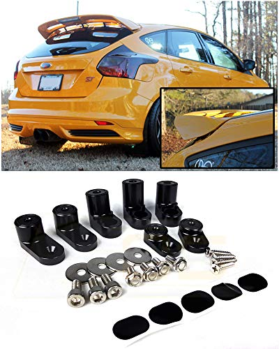 (for 2013-Present Ford Focus ST/RS 5Dr Hatchback | EOS Anodized Black Rear Wing Spoiler Riser Extendsion)