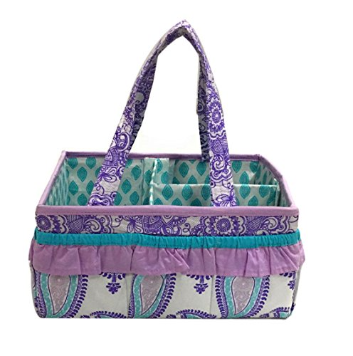Bacati Isabella Girls Paisley Nursery Fabric Storage Caddy with Handles, Lilac/Purple/Aqua (Aqua Paisley Fabric)