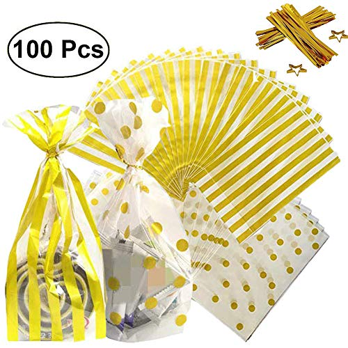 100 Pack Gold Striped and Gold Polka Dot Plastic Packaging Bags with 200 Pieces Twist Ties, 6×10 inch Clear Plastic Treat Bags for Candy Cookie Snack, Cello Party Wrapping Bags ()