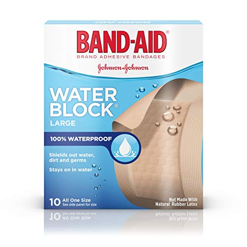 - 100% Waterproof Large Band-Aid Brand Water Block Plus Waterproof Adhesive Bandages for Minor Cuts and Scrapes, 10 ct