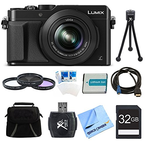 Panasonic LUMIX LX100 DMC-LX100K Integrated Leica DC Lens Camera (Black) with 32GB Memory Card & Reader, Bag, 43mm Filter Kit, Battery, Tripod + More (Panasonic Camera Av Cable)