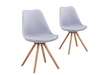 usinestreet lot de 2 chaises scandinaves loop avec coussin et pieds bois couleur gris - Chaises Scandinaves Couleur