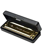 Swan Harmonica 10 Holes Key of G and 20 Notes with Case Golden,for Toddlers, Kids, and Adults, Musical Instrument for Beginners,Stainless Steel Diatonic Mouth Organ Set Complete with Storage Box, Blues Harp for Boys & Girls