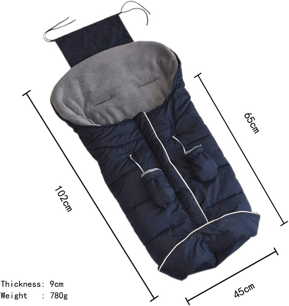 Baby Universal Winter Footmuff Swaddle with Anti-Lost Gloves Baby Waterproof Cosytoes Windproof Comfortable Toes Apron Car Seat Sleeping Bag with Three-Way Zipper Dark Blue 0-3 Years