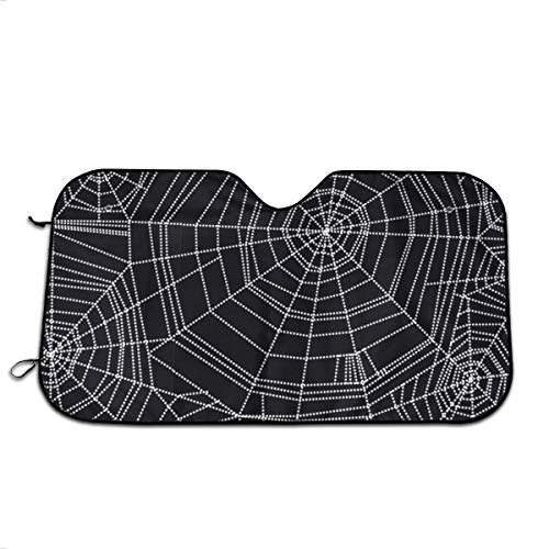 Abstract Spider Web Halloween Universal Car Windshield Visor,Auto Sun Shade Curtains Suitable for Most Car Trucks SUV UV Protection Front Windshield Sun Visor Sunscreen Insulation Sun Shield 70CM]()