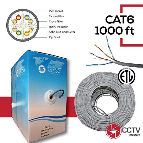 (CAT6 1000FT Solid CCA UTP Cable 23AWG LAN Network Ethernet RJ45 Wire Raiser cm, CMX Fire Resistant PVC (in-Wall Installations) Pass Fluke Test 250FT Grey ETL Listed)