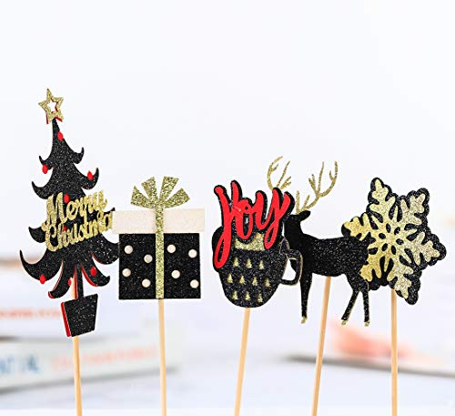 15-pack Merry Christmas Decorations, Christmas Cake Toppers, Christmas Cupcake Toppers Picks, Glitter Cake toppers for Home Party Decor Christmas Party Supplies Favors