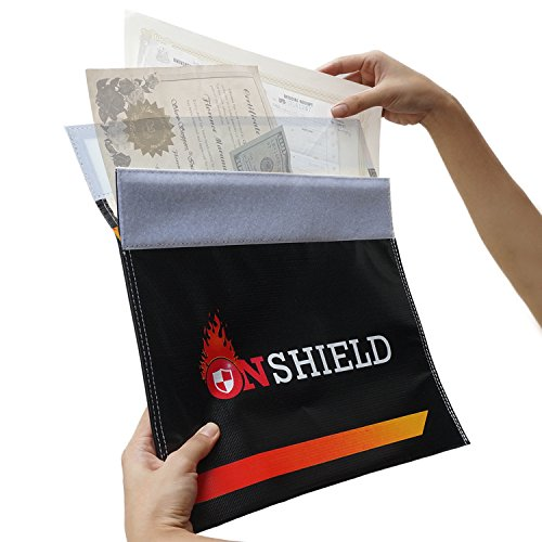 Fire Resistant Plastic (Fire Resistant Document Bag by OnShield 12'' x 11'' | Heavy Duty and Non-itchy Fireproof Document Bag | Fireproof Money Bag for Cash, Birth Certificate, Passport, Titles, Jewelry, Important Documents)
