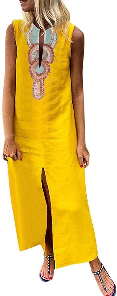 Fossen Algodón y Lino Vestidos Verano Mujer Largos Casual 2019 Estampado Sin Mangas - Chic Vestido de Fiesta Elegantes de Playa Vacation - Vintage Clásico Dress para Coctel Noche: Amazon.es: Ropa y accesorios