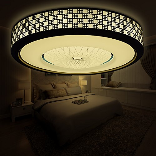 Lilamins Led Ceiling Light Circular Iron Art Modern Minimalt Master Bedroom Living Room Lights Light Atmosphere Small Ale Remote Control Lamps, Women And 15 Watt -30Cm High Bright White Light by Lilamins