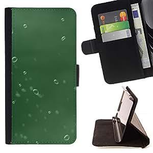 For Samsung Galaxy Note 4 IV Case , Verde gota de agua- la tarjeta de Crédito Slots PU Funda de cuero Monedero caso cubierta de piel