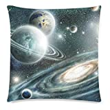 InterestPrint Custom Universe Galaxy Outer Space Nebula Zippered Cushion Pillowcase 18 x 18 ( Twin Sides ) - Planet Earth Solar System Globe Pillow Cases Cover Set Shams Decorative for Couch Bed