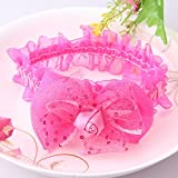 Pyrsun(TM) Elasticity Baby Hair Accessories Shiny Rose Flower Hair Bands Babys Headband Girls Fabric Bowknot Flower Stretch Rim Headbands