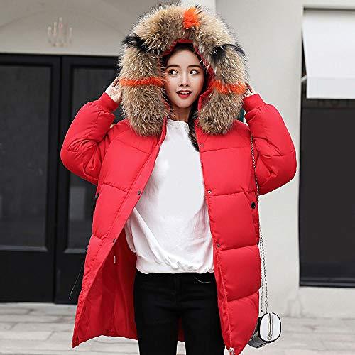 Abrigo Grande Slim Acolchado Capucha De Y Beautyjourney Invierno Falsa Piel Largo Chaqueta Ajuste Transición Con Cuello Rojo Mujer U4wqnpH