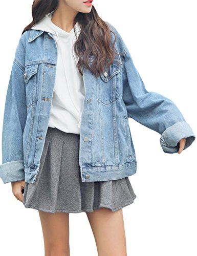 sandbank Women's Loose Fit Long Sleeve Button Boyfriend Denim Jacket Jean Coat (S, Light Blue)