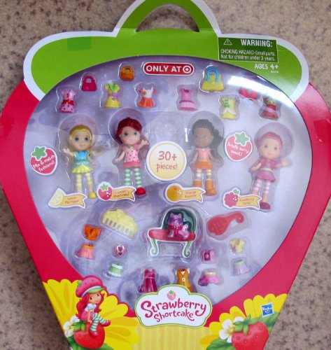 (STRAWBERRY SHORTCAKE 4 SCENTED DOLL MINI PACK Set w 30+ Pieces TARGET Exclusive (2011))