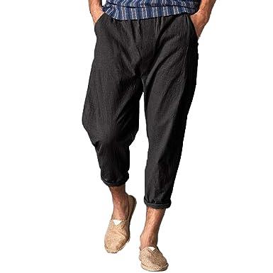 8df6775b99 MILIMIEYIK Sweatpants, Mens Linen Pants Beach Casual Loose Fit Work Elastic  Waist Drawstring Golf Cargo