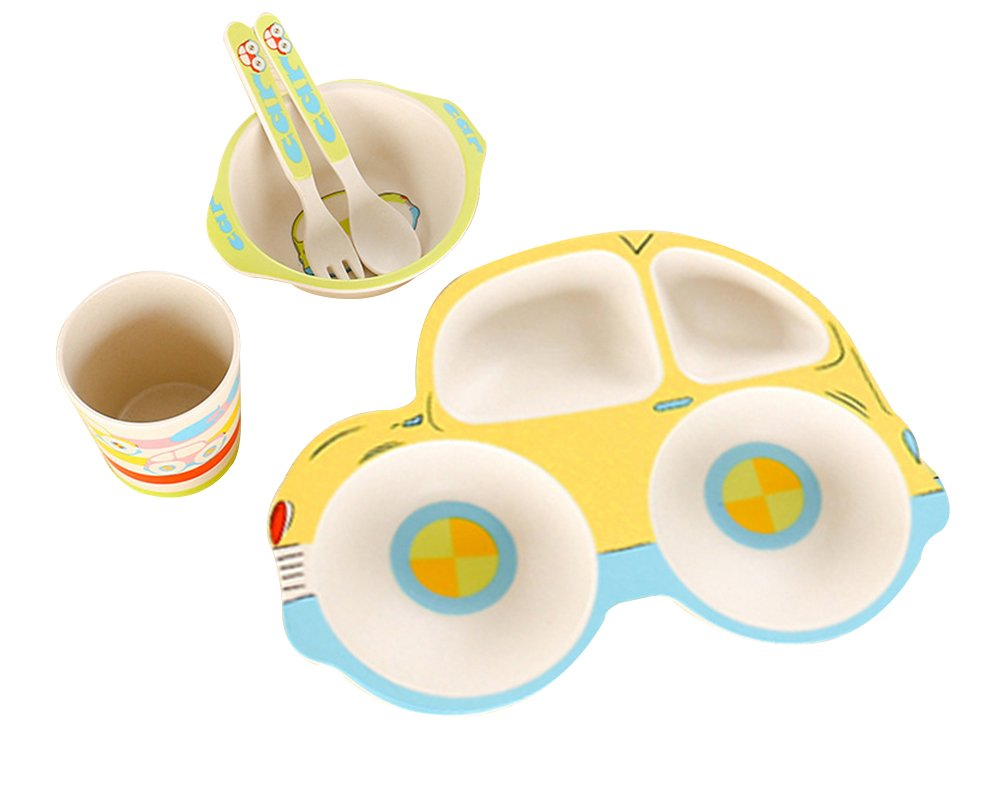 LLZJ Babies Tableware Dishes Sets Bowls Cup Bamboo Fiber Tray Fork Spoon Tip Children's Cutlery Separate Toddler Feeding Training Self-Feeding,Yellow