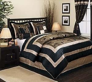 Amazon Com Black Tan Amp Gold Queen Comforter Shams Bed