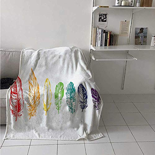 - Nature Digital Printing Blanket Collection of Ink Drawing Style with Rainbow Feathers Natural Artwork Print Summer Quilt Comforter 62x60 Inch Red Green Purple
