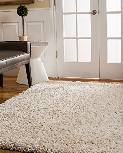 NaturalAreaRugs Camilla Shag Rug, Stain Resistant, Soft, Durable, Luxurious, Cotton Backing, Beige Color, 4' x 6', Non-Slip Rug Pad Included (Natural Shag)