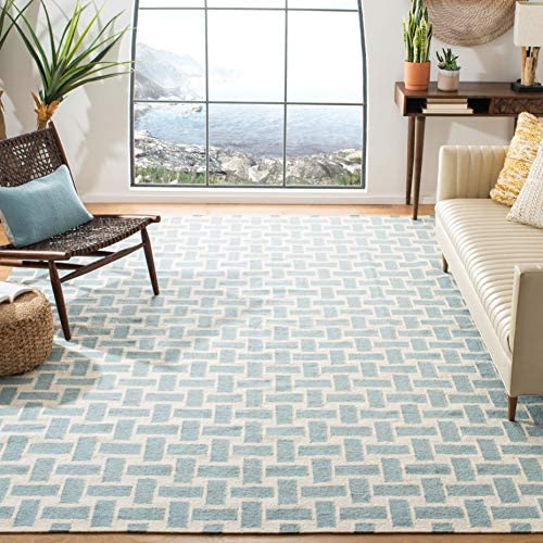Safavieh Dhurries Collection DHU201A Hand Woven Turquoise and Ivory Premium Wool Area Rug 8' x 10'