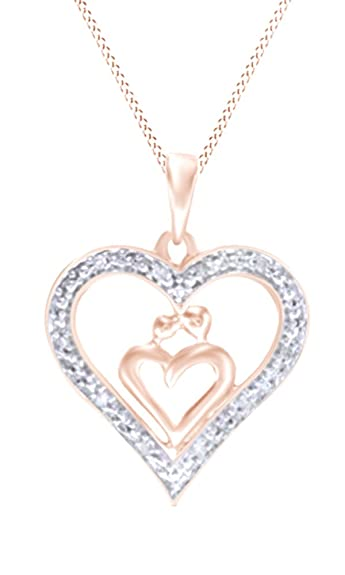 4bb993e045e7b Jewel Zone US Natural Diamond Accent Heart-Shaped Motherly Love Pendant in 10K  Rose Gold