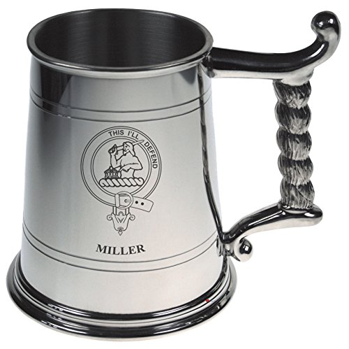 Miller Crest Tankard with Rope Handle in Polished Pewter 1 Pint Capacity