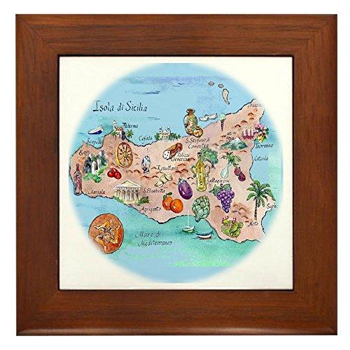 CafePress - Sic.Map-1 - Framed Tile, Decorative Tile Wall Hanging