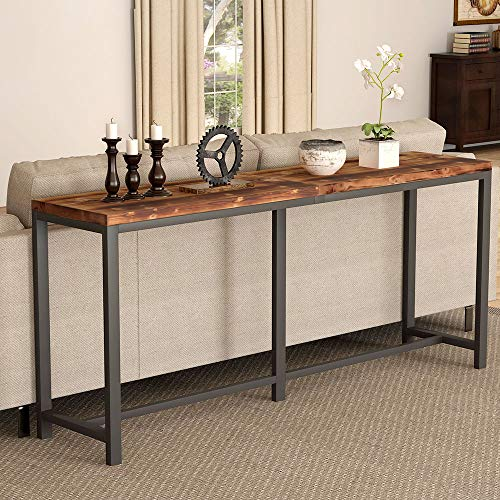 Tribesigns Rustic Solid Wood Console Table Behind Sofa Couch, 70.9 inch Extra Long Narrow Entryway Hallway Table for Living Room, Small Space (Sofa Behind Table With)