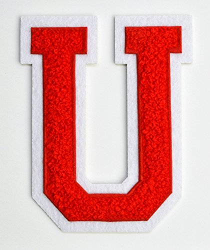 Varsity-Letter-Patches-Red-Embroidered-Chenille-Letterman-Patch-4-12-inch-Iron-On-Letter-Initials-Red-Letter-U-Patch