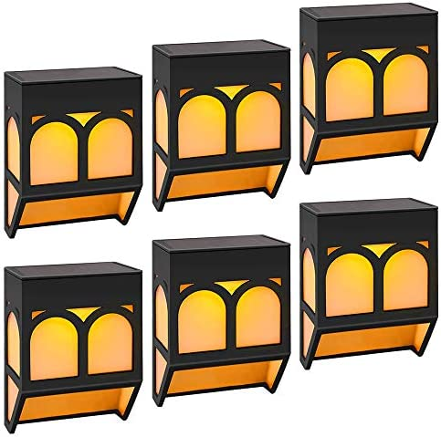 Fence Post Solar Lights, 6 Pack LED Solar Deck Post Lights Warm Amber and Color Changing Mode Waterproof Outdoor Wall Mount LED Solar Lighting Step Deck Fence Wall Front Door Garden Decor