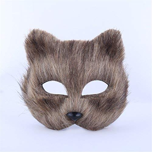 RANDER Halloween Animal vizard Mask glyptostrobus Men and Women Half Face Props Short Hair Cute Fox (Grey) -