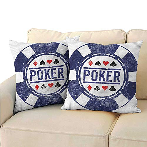 RuppertTextile Poker Tournament Living Room Sofa Hug Pillowcase Poker Chips Design Suitable for Hair and Skin Health W15 x L15 ()