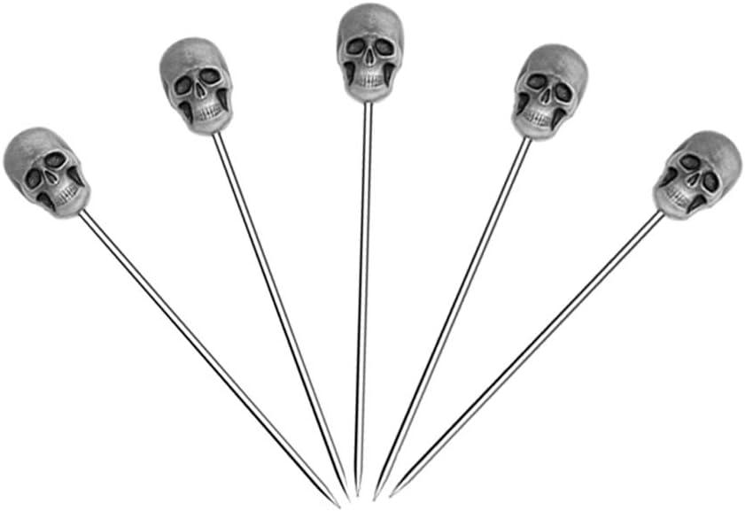 5 Pcs Stainless Steel Cocktail Picks Reusable Toothpicks Fruit Sticks(Skull)